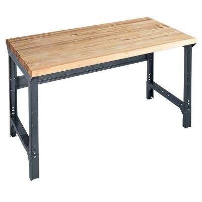 34 in. H x 72 in. W x 33 in. D Maple Butcher Block Top Workbench