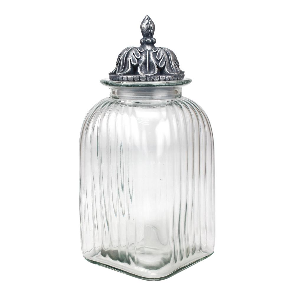 clear glass canisters for kitchen stonebriar collection fluted glass canister with 23312