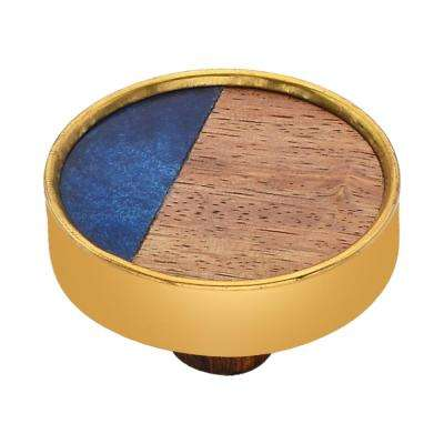 Athena 1-3/5 in. Wood and Blue Cabinet Knob