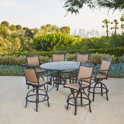 Tuscan Estate Aluminum Sling 7-Piece Outdoor Bar Height Dining Set - Bar Height Dining Sets - Outdoor Bar Furniture - The Home Depot