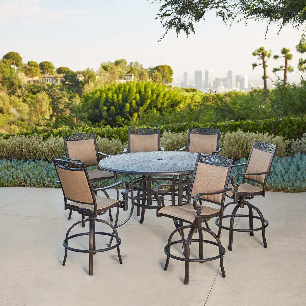 Excellent Royal Garden Tuscan Estate Aluminum Sling 7 Piece Outdoor Bar Height Dining Set Home Interior And Landscaping Ologienasavecom