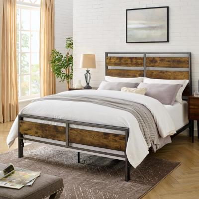 Industrial Queen Size Metal and Wood Plank Bed - Brown
