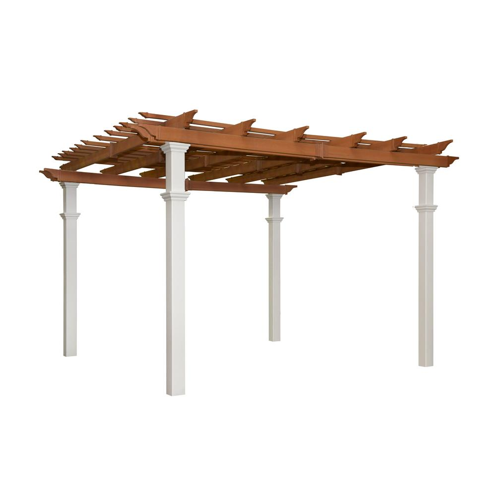 10 ft x 12 ft wood pergola pa1012 the home depot. Black Bedroom Furniture Sets. Home Design Ideas
