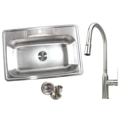 Topmount Drop-In 18-Gauge Stainless Steel 33 in. x 22 in. x 9 in. 1-Hole Single Bowl Kitchen Sink and Faucet Combo