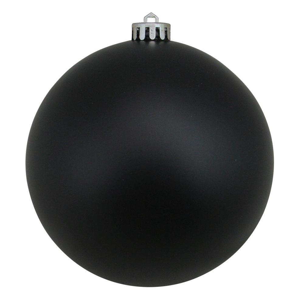 12 in. (300 mm) Jet Black Commercial Shatterproof Matte Christmas Ball Ornament