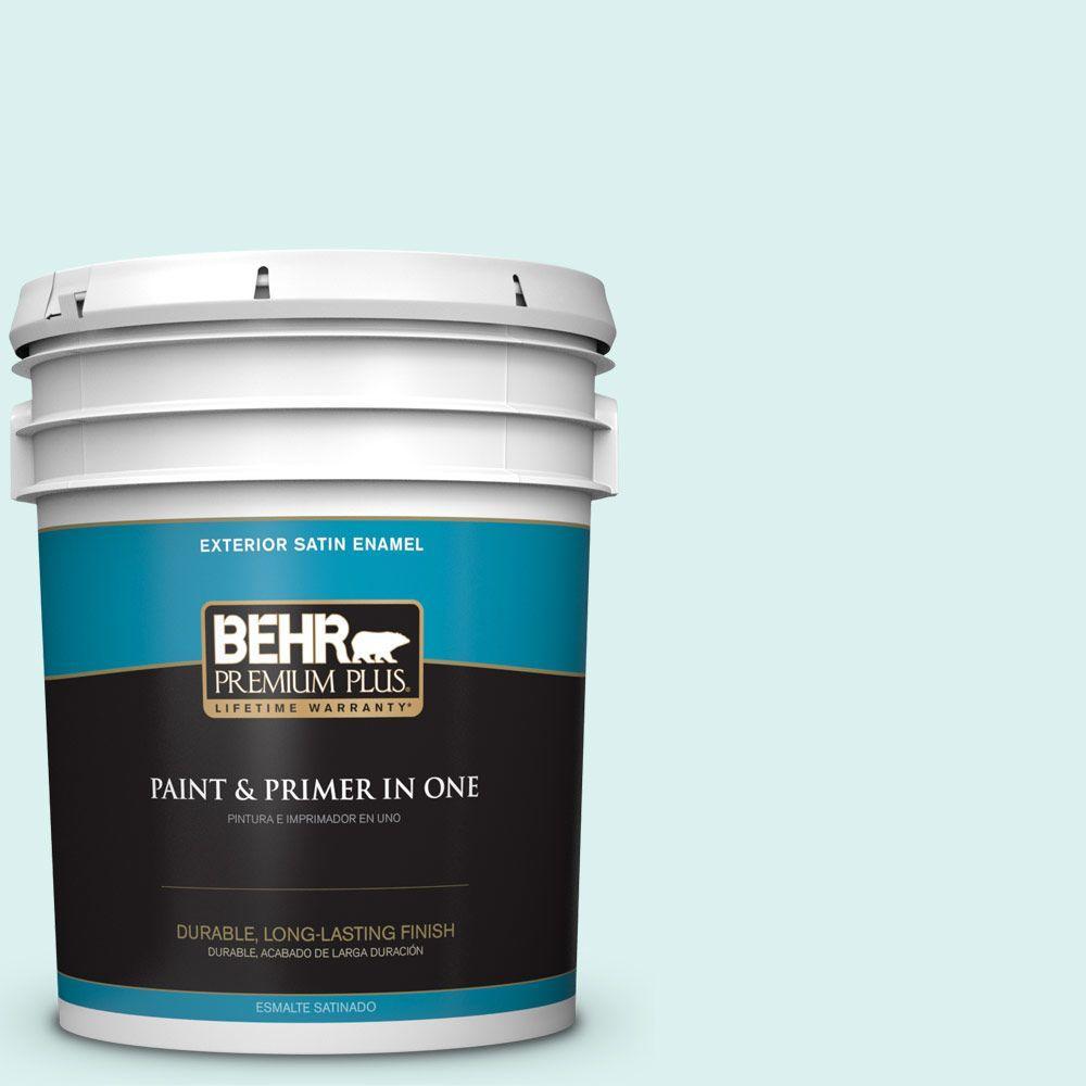 BEHR Premium Plus 5-gal. #500C-2 Aqua Pura Satin Enamel Exterior Paint