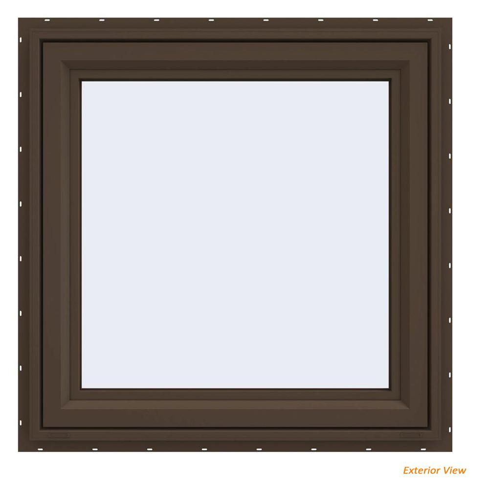 JELD-WEN 35.5 in. x 35.5 in. V-4500 Series Brown Painted Vinyl Right-Handed Casement Window with Fiberglass Mesh Screen