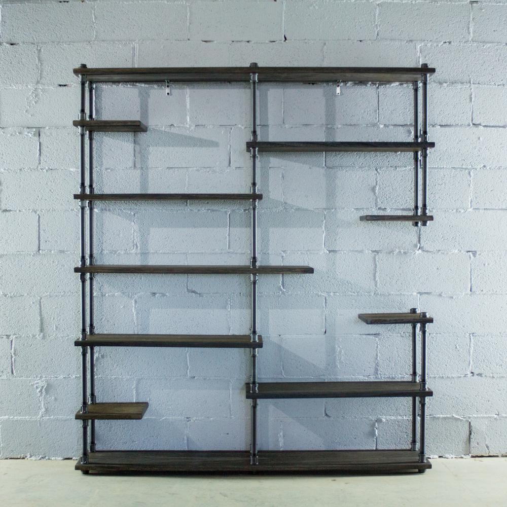 Black Steel Industrial Pipe Asymmetrical Eleven Shelf Bookcase