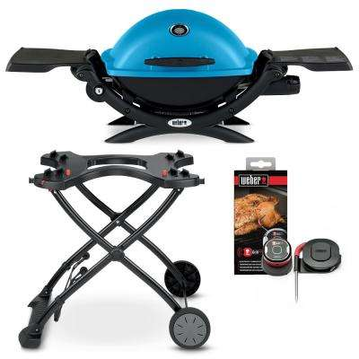 Q 1200 1-Burner Portable Propane Gas Grill in Blue Combo with Rolling Cart and iGrill Mini