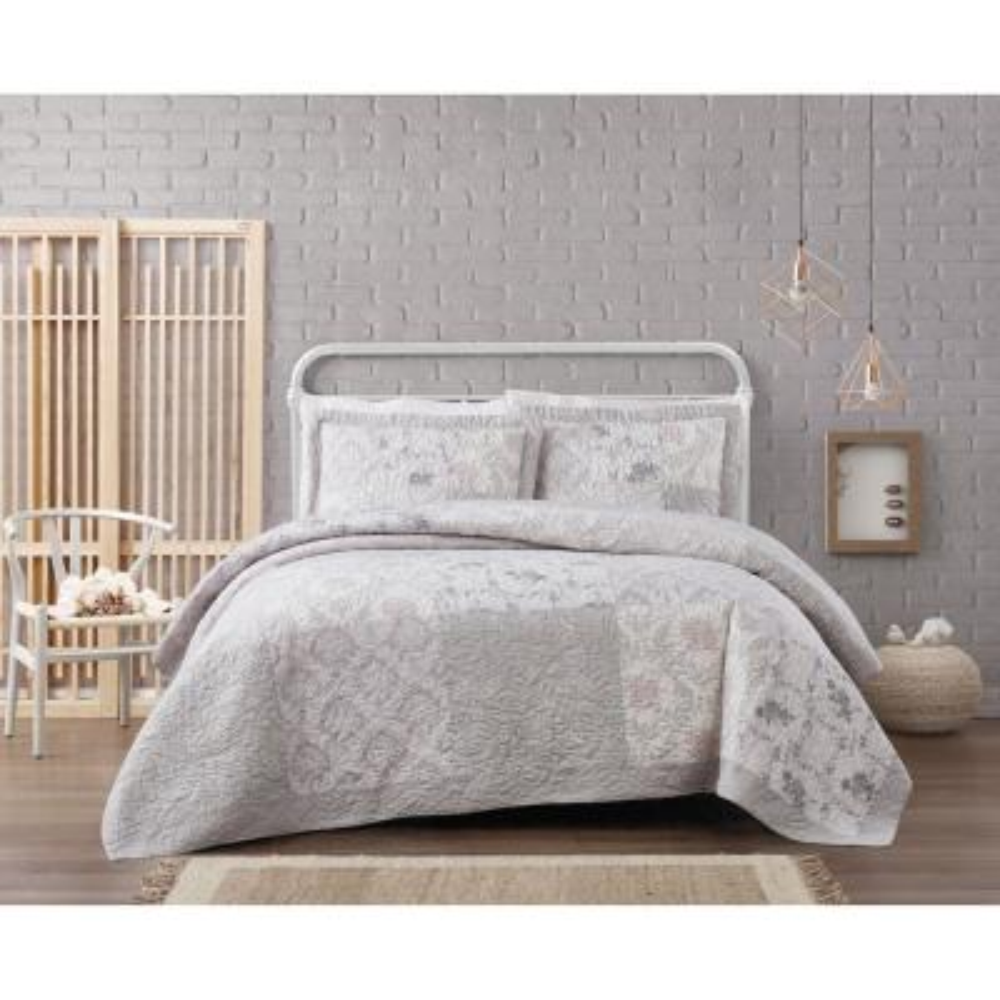 Brigette Floral Cotton 3-Piece Grey King Quilt Set