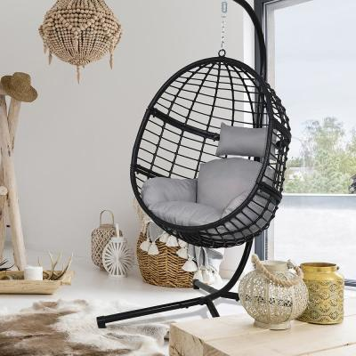 78 in. Black Wicker Patio Outdoor Basket Swing Chair with Stand and Grey Cushions
