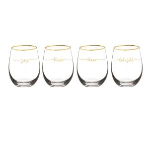 Bliss 2.8 inch x 4.7 inch Gold Rim Stemless Wine Glasses by