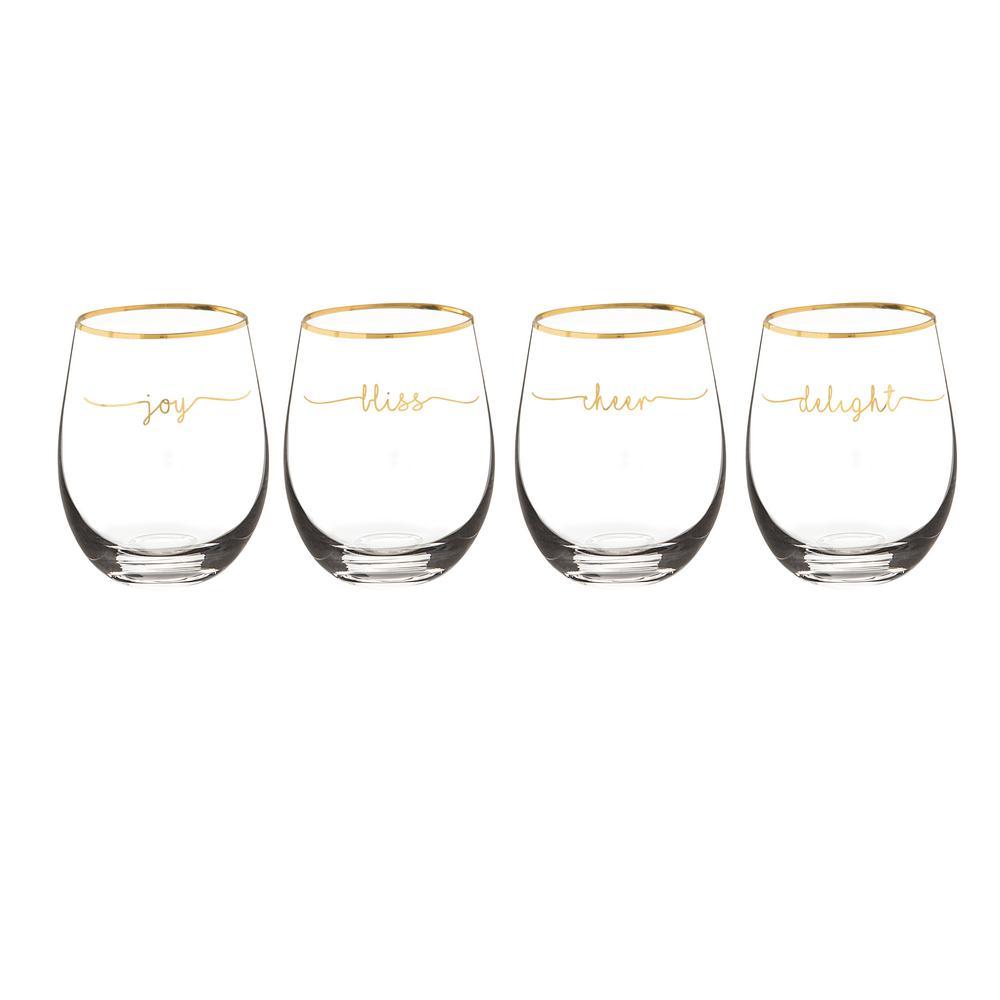 Bliss 2.8 in. x 4.7 in. Gold Rim Stemless Wine Glasses