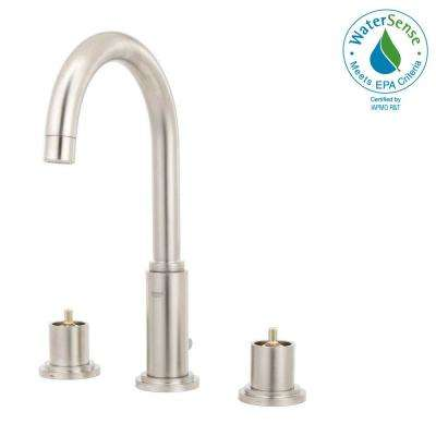 Atrio 8 in. Widespread 2-Handle High Arc Bathroom Faucet in Brushed Nickel Infinity Finish (Handles Not Included)