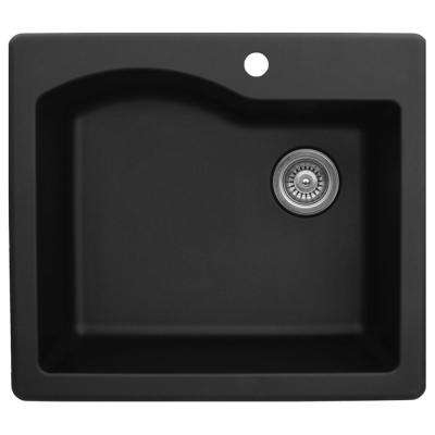 Drop-In Quartz Composite 25 in. 1-Hole Single Bowl Kitchen Sink in Black
