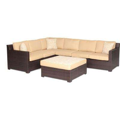 Metropolitan 5-Piece Wicker Patio Deep Seating Set with Protective Vinyl Cover and Sahara Sand Cushions