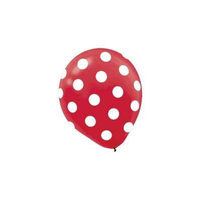 12 in. Red Polka Dots Latex Balloons (6-Count, 9-Pack)
