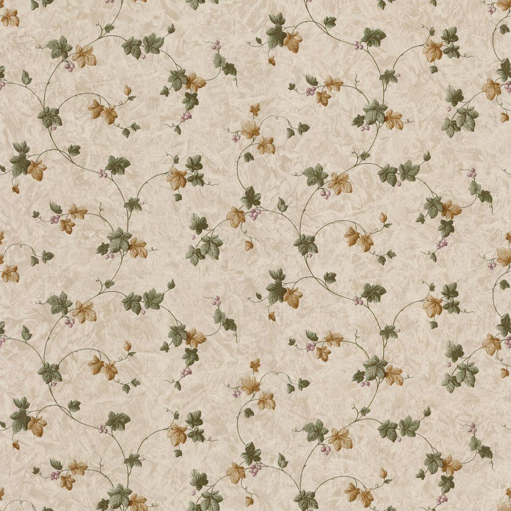 The Wallpaper Company 56 sq. ft. Green and Gold Ivy Trail Wallpaper