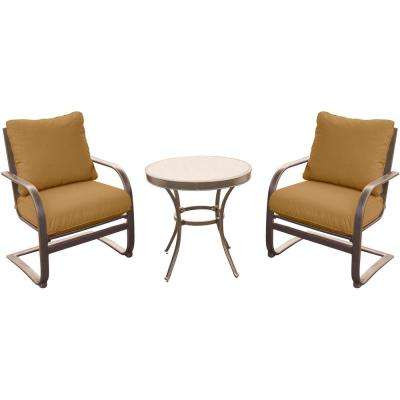 3-Piece Outdoor Bistro Set with Aluminum Spring Chairs and Round Glass-Top Table with Desert Sunset Cushions