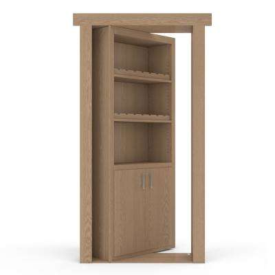 36 in. x 80 in. Flush Mount Assembled Oak Unfinished Left-Hand Inswing Wine Rack Door
