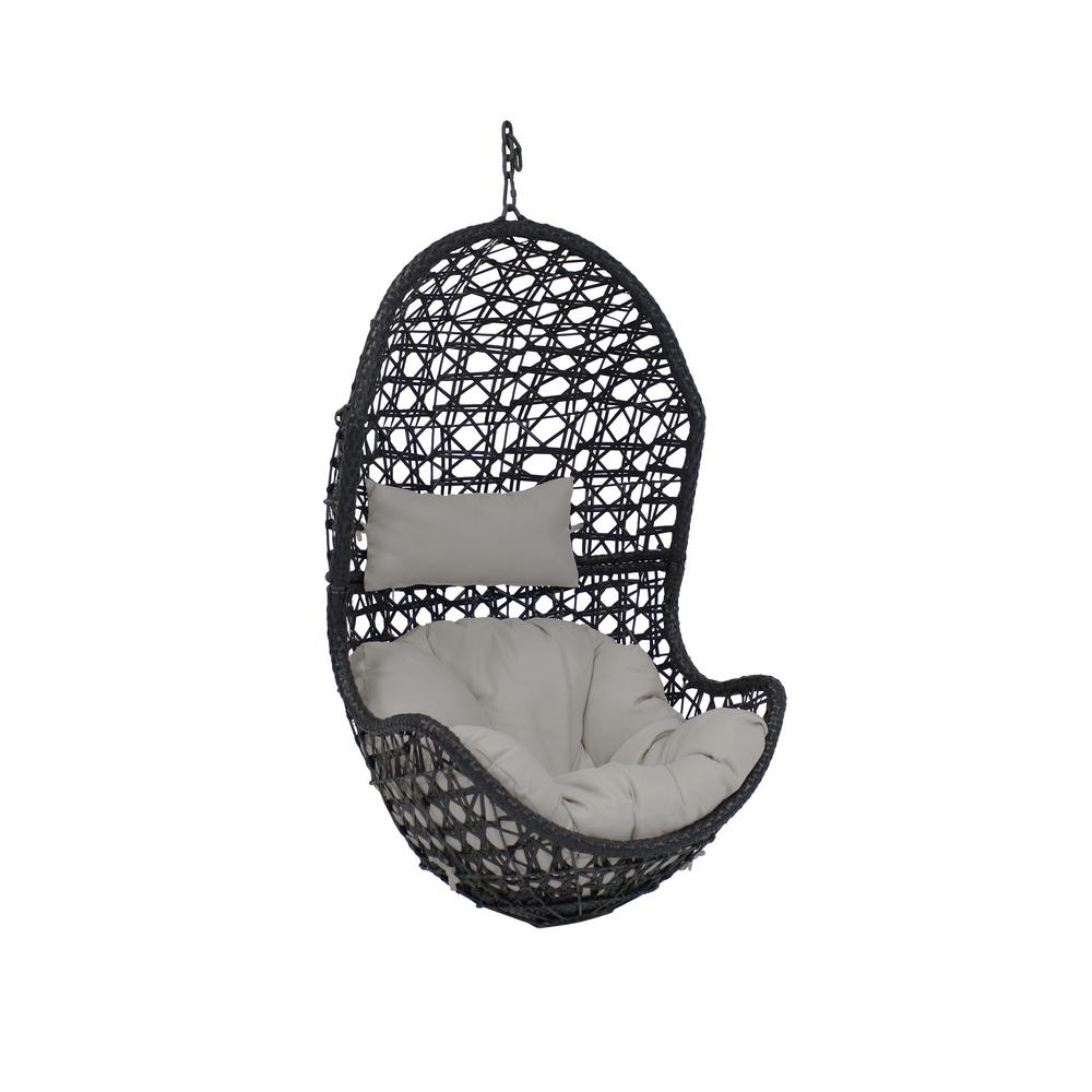Cordelia Resin Wicker Indoor Outdoor Hanging Egg Patio Lounge Chair With Gray Cushions