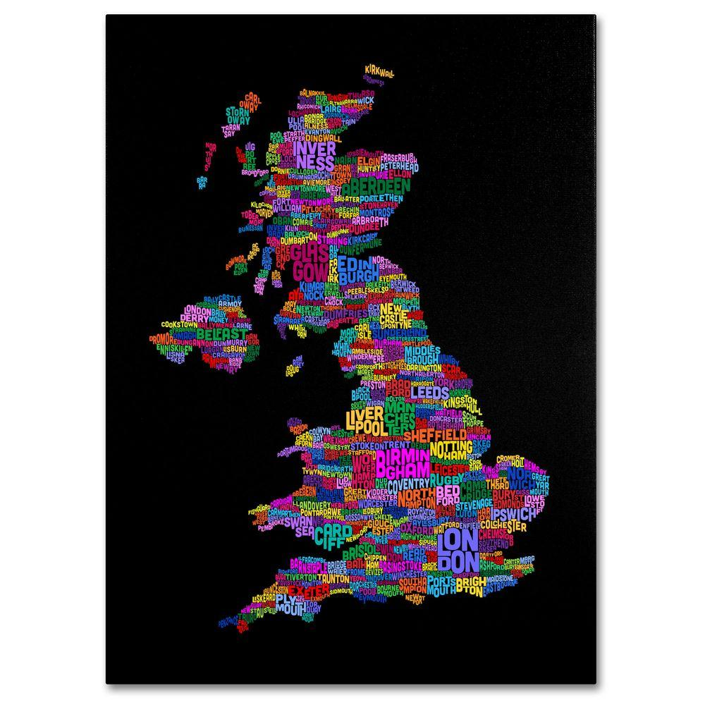 Trademark Fine Art 16 in. x 24 in. UK Cities Text Map 5 Canvas Art
