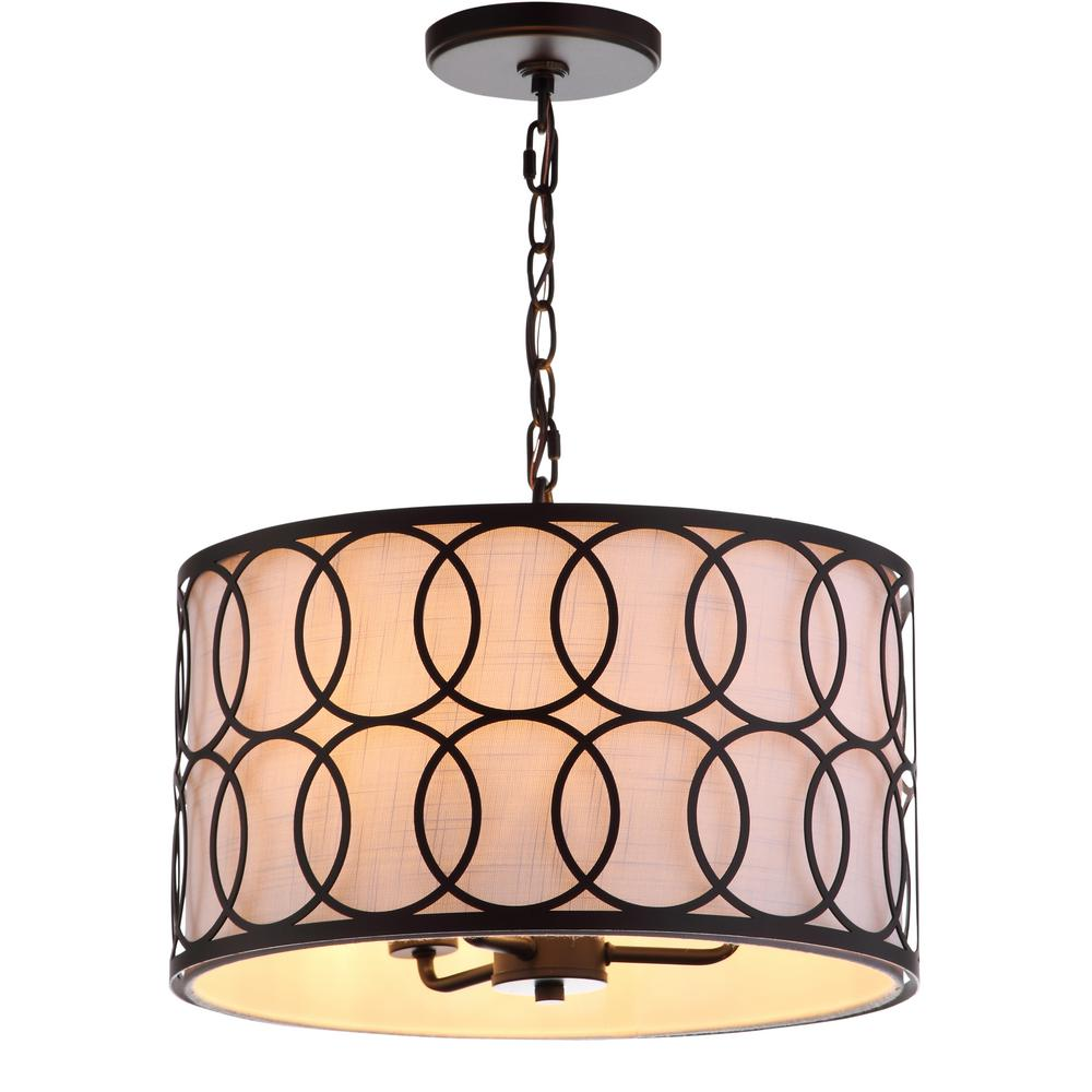 JONATHAN Y Loop 3-Light 16 in. Metal LED Pendant Oil Rubbed Bronze Chandelier