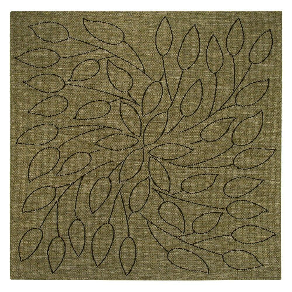 Persimmon Green/Black 7 ft. 6 in. Square Area Rug