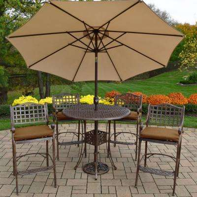 Elite 7-Piece Aluminum Outdoor Bar Height Dining Set with Sunbrella Brown Cushions and Beige Umbrella