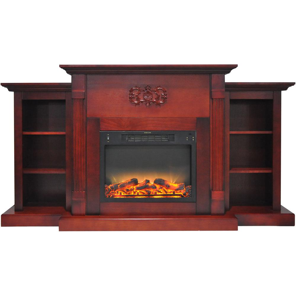 Classic 72 in. Electric Fireplace in Cherry with Bookshelves and Enhanced