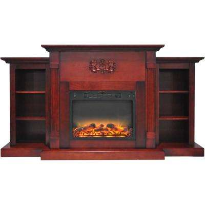 Classic 72 in. Electric Fireplace in Cherry with Bookshelves and Enhanced Log Display