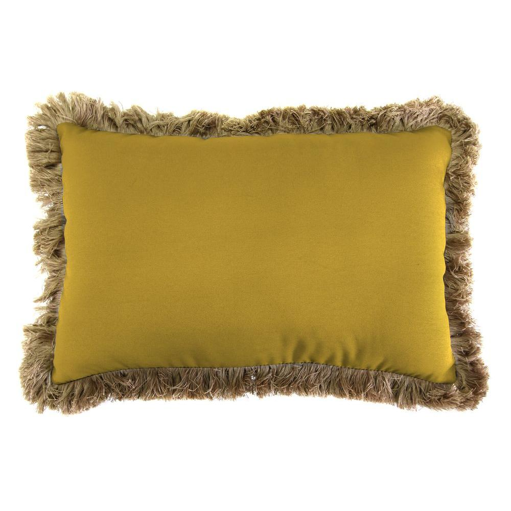 Sunbrella 19 in. x 12 in. Canvas Maize Outdoor Throw Pillow