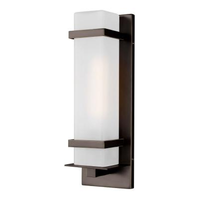 Alban 1-Light Antique Bronze Outdoor Wall Lantern Sconce with LED Bulb