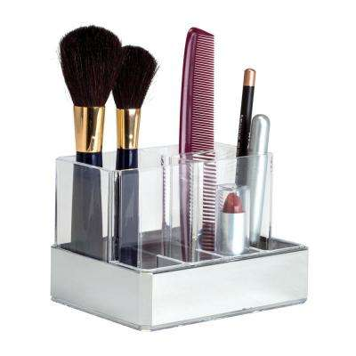 5.31 in. x 3.94 in. x 3.74 in. 7 Section Cosmetic and Jewelry Holder in Silver