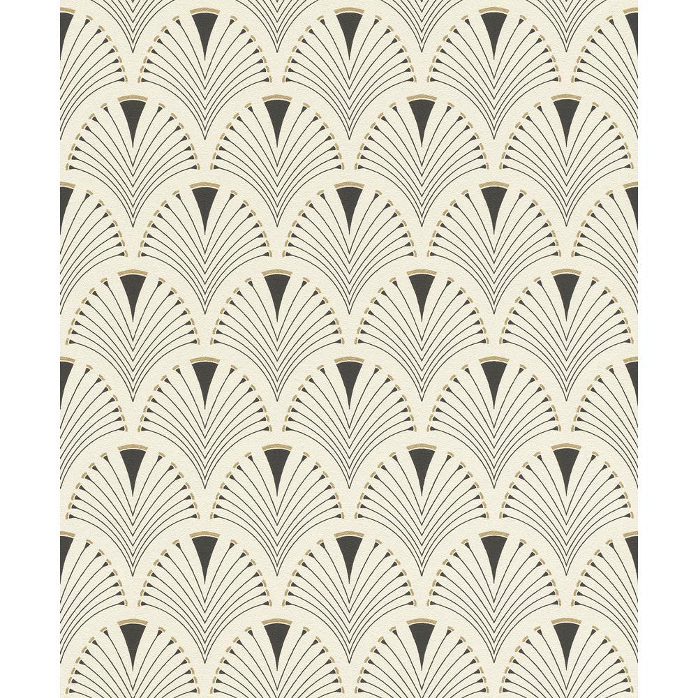 8 in. x 10 in. Ruhlmann Cream Fan Wallpaper Sample