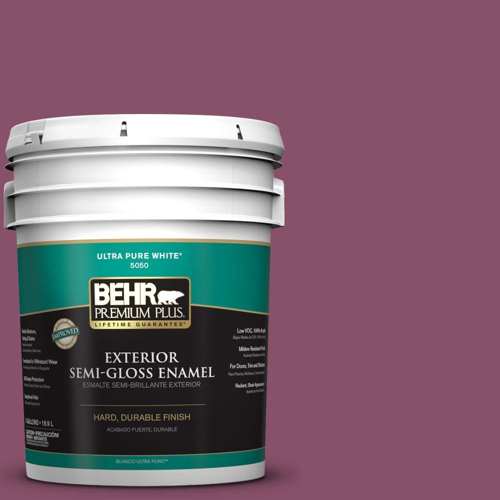 5-gal. #M120-7 Raspberry Crush Semi-Gloss Enamel Exterior Paint