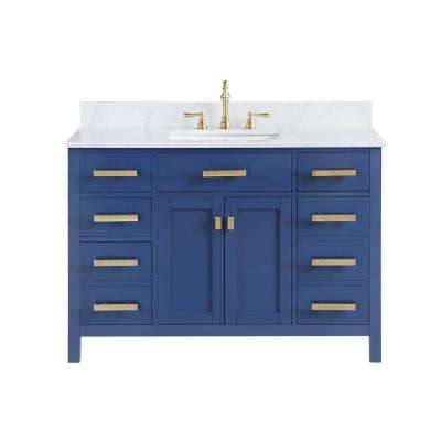 Valentino 48 in. W x 22 in. D Bath Vanity in Blue with Carrara Marble Vanity Top in White with White Basin