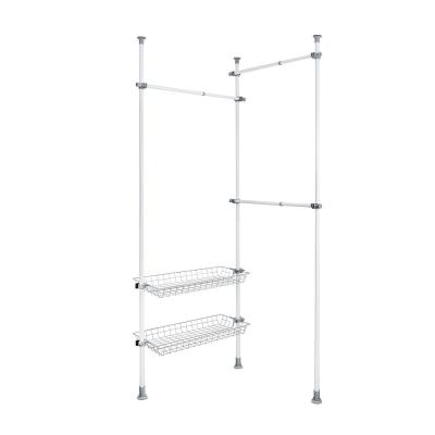 Herkules Duo 14.96 in. D x 64.57-84.65 in. W x 64.96-118.11 in. H White Powder-Coated Steel Tension Mount Closet System