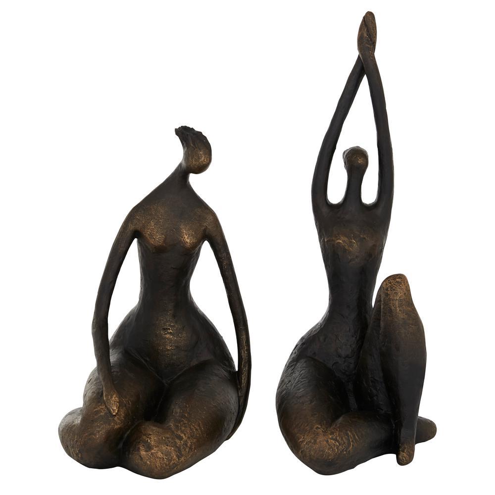 Litton Lane Bronze Yoga Women Figurines Set of 2 8 in. W x 16 in. H