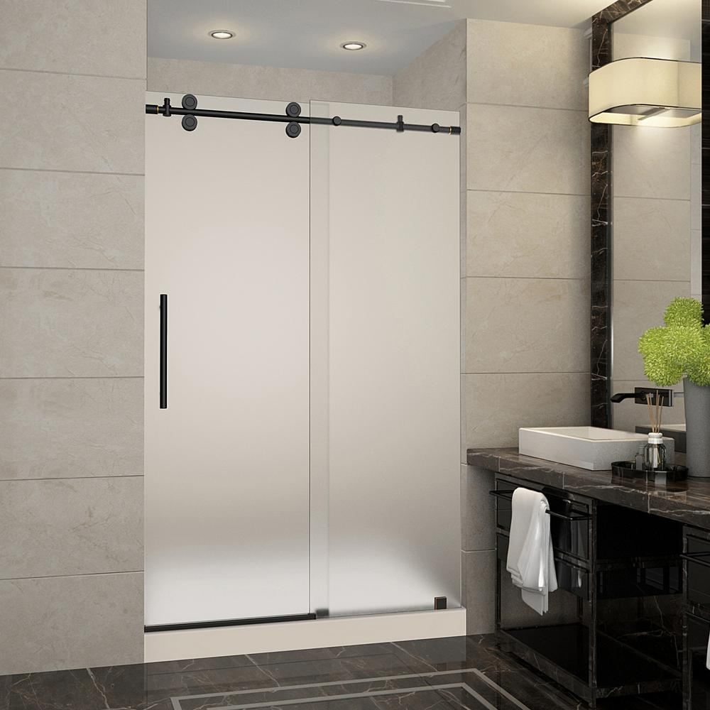 aston langham 48 in x 36 in x 77 5 in frameless sliding shower door with frosted glass in oil. Black Bedroom Furniture Sets. Home Design Ideas