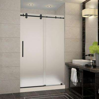 Langham 48 in. x 36 in. x 77.5 in. Frameless Sliding Shower Door with Frosted Glass in Oil Rubbed Bronze and Middle Base