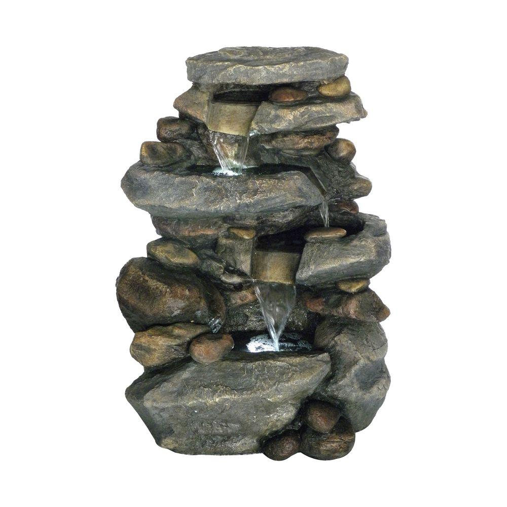 Pure garden 25 5 in stone waterfall fountain with led for Stone garden waterfall