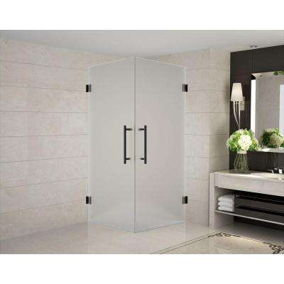 Vanora 36 in. x 36 in. x 72 in. Frameless Hinged Square Shower Enclosure with Frosted Glass in Oil Rubbed Bronze