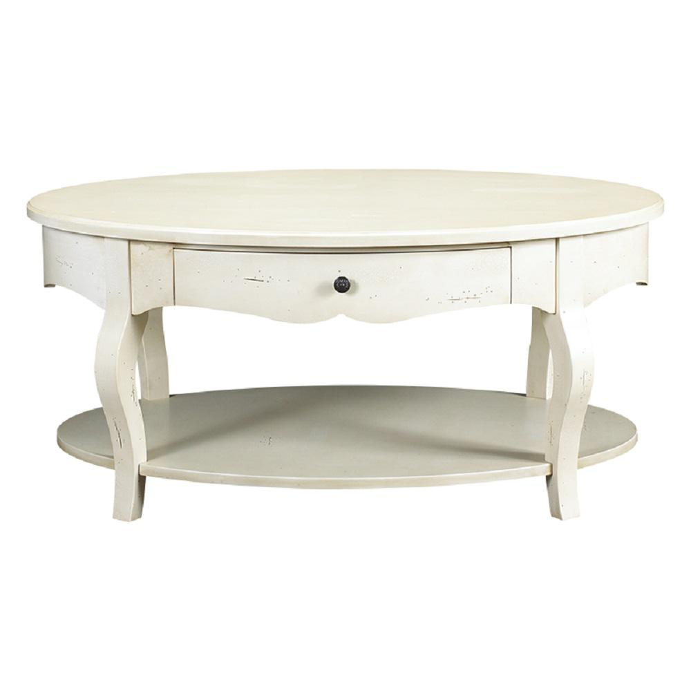 French Oval Coffee Table: French Heritage D'orsay Parisian White Oval Coffee Table-M