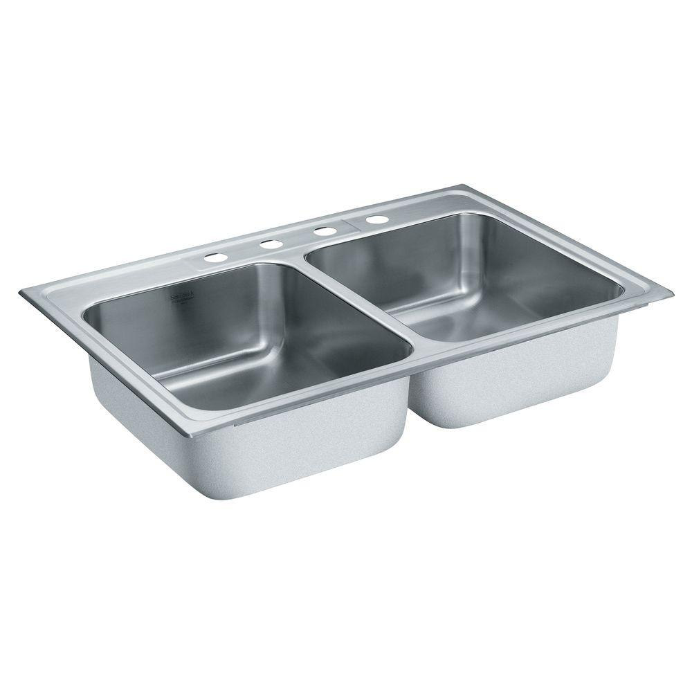 MOEN Lancelot Drop-in Stainless Steel 33x22x8 4-Hole Double Bowl Kitchen Sink-DISCONTINUED
