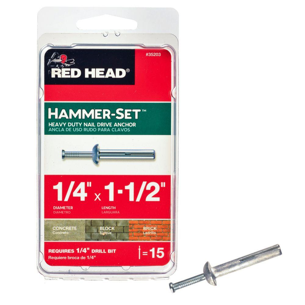 Red Head 1/4 in. x 1-1/2 in. Hammer-Set Nail Drive Concrete Anchors (15-Pack)