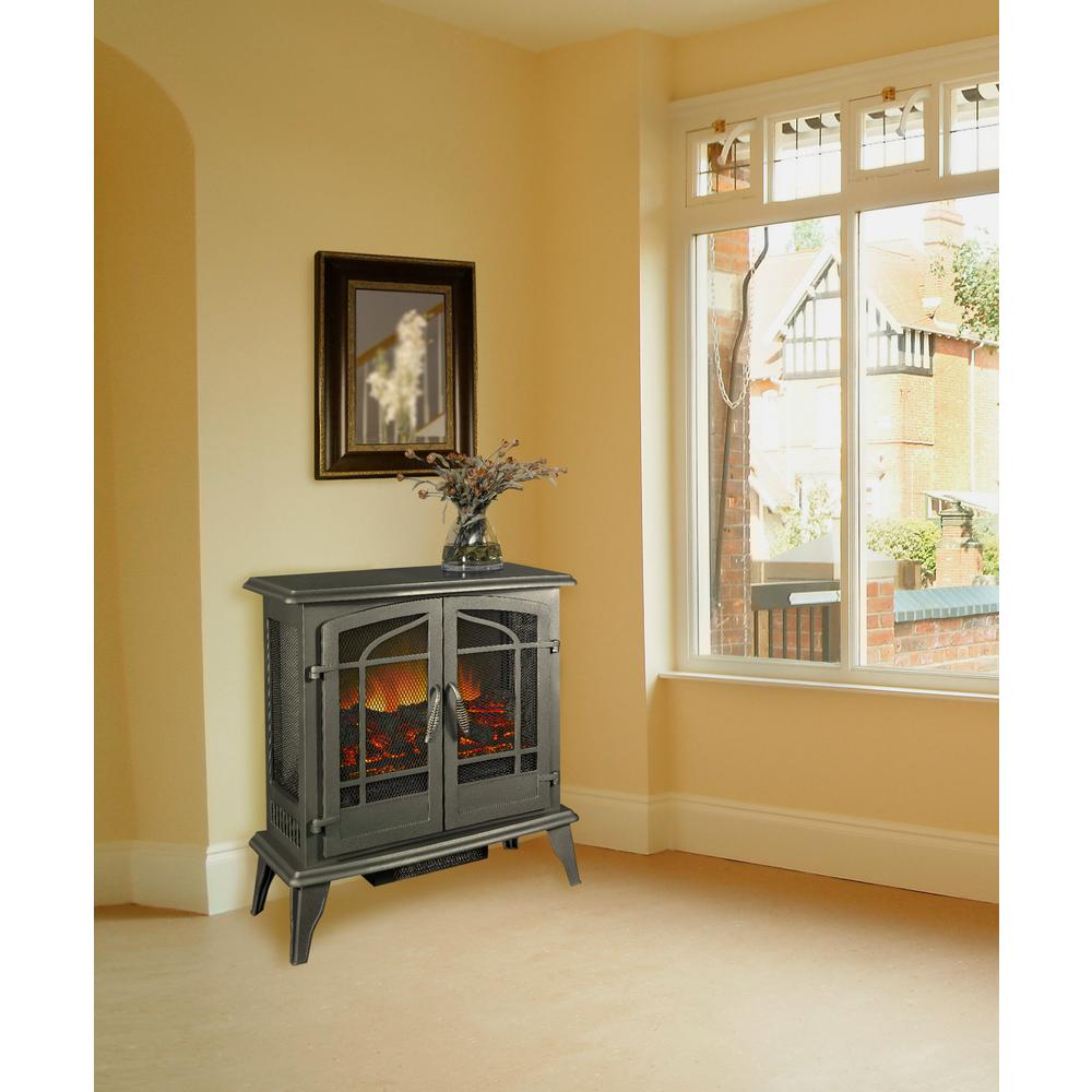 Pleasant Hearth 400 sq. ft. 25 in. Vintage Iron Panoramic Electric Stove