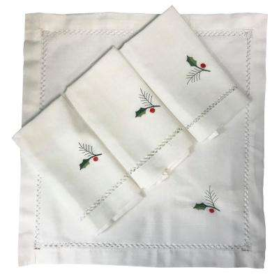 Holly Bouquet 20 in. x 20 in. 100% Polyester Napkins (4-Pack)