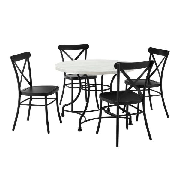 Madeleine 5-Piece Black Dining Set with Camille Chairs
