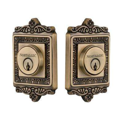 Egg and Dart Plate 2-3/4 in. Antique Brass Backset Double Cylinder Deadbolt